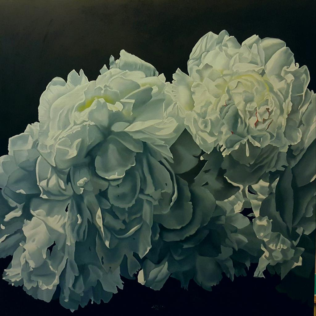 BLUE GREY PEONY OIL ON CANVAS 100X100