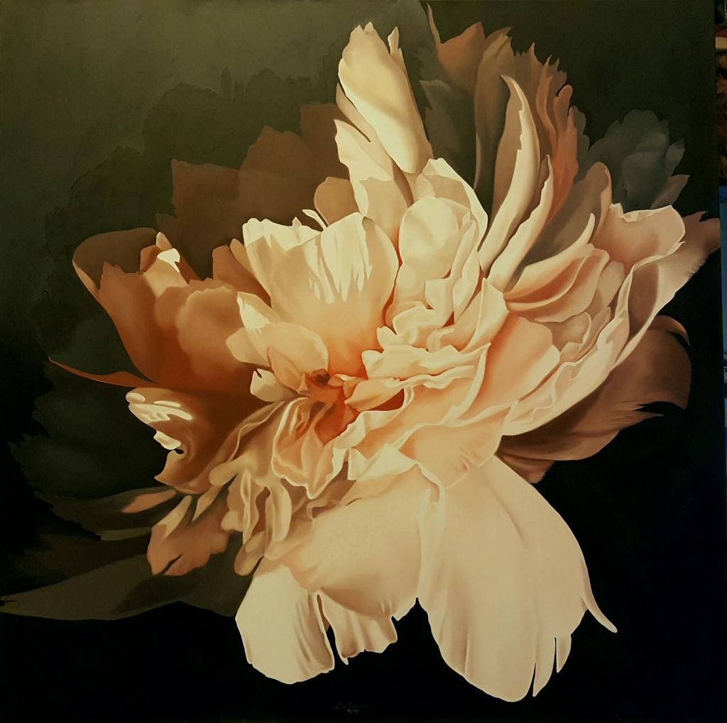 PEONY IN THE FALL OIL ON CANVAS 100X100